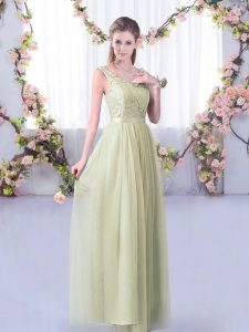 Admirable Yellow Green V-neck Side Zipper Lace and Belt Bridesmaid Dress Sleeveless