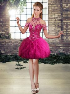Affordable Tulle Halter Top Sleeveless Lace Up Beading and Ruffles Cocktail Dresses in Fuchsia