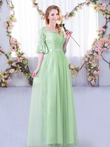 Artistic Apple Green Empire Scoop Half Sleeves Tulle Floor Length Side Zipper Lace and Belt Damas Dress