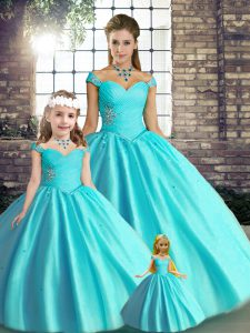 Flirting Aqua Blue Ball Gowns Tulle Off The Shoulder Sleeveless Beading Floor Length Lace Up Sweet 16 Dresses