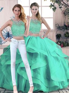 Hot Sale Sleeveless Beading and Ruffles Zipper Sweet 16 Quinceanera Dress