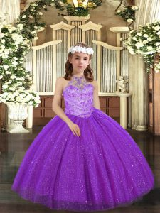 Purple Halter Top Neckline Beading Child Pageant Dress Sleeveless Lace Up
