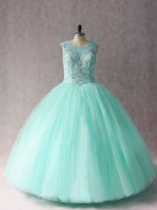Scoop Sleeveless Tulle Quinceanera Dress Beading Lace Up