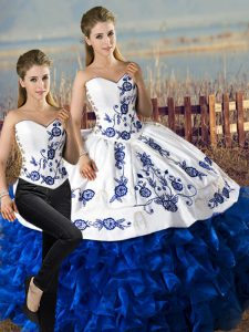 Wonderful Sleeveless Embroidery and Ruffles Lace Up Quinceanera Gowns