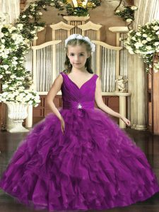 Eggplant Purple V-neck Neckline Beading and Ruffles Pageant Dress Womens Sleeveless Backless