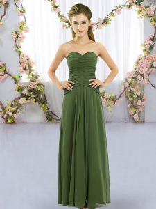 Captivating Dark Green Lace Up Wedding Guest Dresses Ruching Sleeveless Floor Length