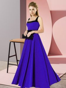 Adorable Blue Chiffon Zipper Square Sleeveless Floor Length Wedding Guest Dresses Belt