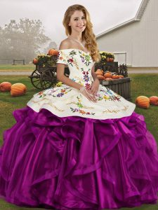 Organza Off The Shoulder Sleeveless Lace Up Embroidery and Ruffles Quince Ball Gowns in White And Purple