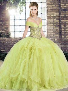 Inexpensive Yellow Green Lace Up Off The Shoulder Beading and Ruffles Sweet 16 Dresses Tulle Sleeveless