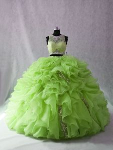 Ball Gowns Organza Scoop Sleeveless Beading and Ruffles Zipper 15 Quinceanera Dress Brush Train
