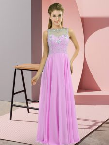 Luxurious Lilac Chiffon Zipper Prom Gown Sleeveless Floor Length Beading