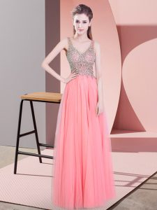 Watermelon Red Tulle Zipper Evening Gowns Sleeveless Floor Length Beading