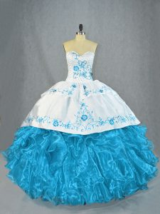 Cheap Baby Blue Sleeveless Beading and Ruffles Quinceanera Dress