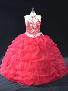 Elegant Red Backless Halter Top Beading and Lace Sweet 16 Dresses Organza Sleeveless