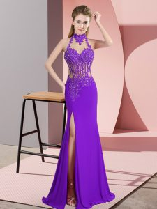 Latest Purple Sleeveless Floor Length Beading Backless Dress Like A Star