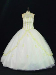 Yellow And White Tulle Lace Up Quinceanera Gowns Sleeveless Floor Length Appliques