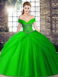 Customized Off The Shoulder Sleeveless Tulle Ball Gown Prom Dress Beading and Pick Ups Brush Train Lace Up