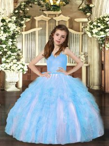 Aqua Blue Pageant Dresses Party and Sweet 16 and Wedding Party with Ruffles Straps Sleeveless Lace Up