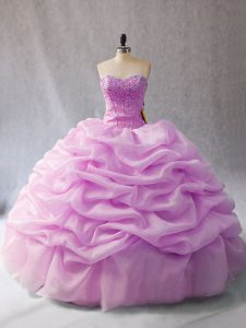 Hot Sale Lilac Lace Up Sweetheart Pick Ups Quinceanera Dress Organza Sleeveless