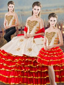 Best Selling Floor Length White And Red 15 Quinceanera Dress Satin Sleeveless Beading and Ruffled Layers