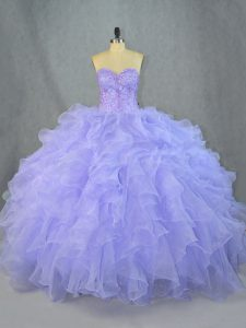 Floor Length Lavender Quinceanera Gown Organza Sleeveless Beading and Ruffles