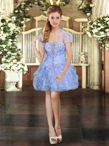 Fantastic Light Blue Ball Gowns Organza Strapless Sleeveless Beading and Lace and Ruffles Mini Length Lace Up Prom Dresses