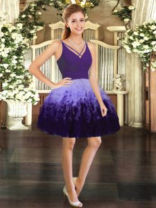 Glittering V-neck Sleeveless Prom Evening Gown Mini Length Ruffles Multi-color Tulle