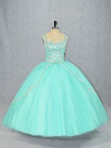 Straps Cap Sleeves Tulle Sweet 16 Dress Beading Brush Train Lace Up
