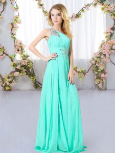 Chiffon Sleeveless Floor Length Quinceanera Court of Honor Dress and Beading