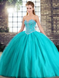 Delicate Aqua Blue Ball Gowns Sweetheart Sleeveless Tulle Brush Train Lace Up Beading 15th Birthday Dress