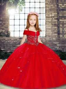Amazing Beading Pageant Dress for Teens Red Lace Up Sleeveless Floor Length