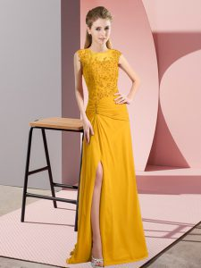 Captivating Column/Sheath Gold Scoop Chiffon Sleeveless Floor Length Zipper