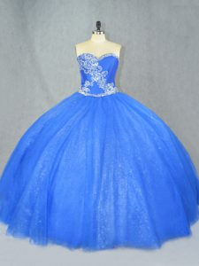 Sweetheart Sleeveless Lace Up Sweet 16 Dresses Blue Tulle