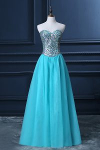 High End Tulle Sweetheart Sleeveless Zipper Beading Pageant Dress for Teens in Aqua Blue