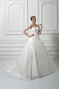 Suitable White Sleeveless Court Train Beading and Lace Wedding Gowns
