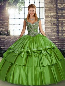 Customized Floor Length Lace Up Quince Ball Gowns Green for Military Ball and Sweet 16 and Quinceanera with Beading and Ruffled Layers