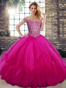 Sleeveless Floor Length Beading and Ruffles Lace Up 15 Quinceanera Dress with Fuchsia