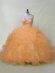 Fabulous Orange Lace Up Quinceanera Gown Beading and Ruffles Sleeveless