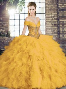 Artistic Sleeveless Lace Up Floor Length Beading and Ruffles Quinceanera Gowns