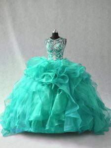 Elegant Scoop Sleeveless Sweet 16 Dresses Floor Length Beading and Ruffles Turquoise Organza