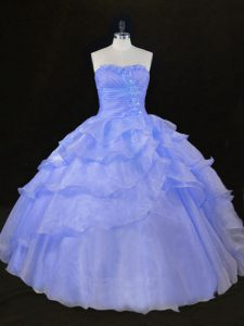 Sexy Sleeveless Floor Length Ruffles and Hand Made Flower Lace Up Sweet 16 Dress with Blue and Lavender
