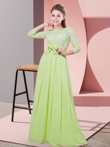 Yellow Green 3 4 Length Sleeve Lace and Belt Floor Length Quinceanera Court Dresses