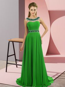 Green Sleeveless Brush Train Beading Prom Evening Gown