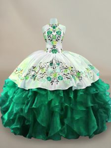 Top Selling Floor Length Dark Green 15th Birthday Dress Organza Sleeveless Embroidery