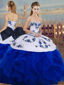 Sophisticated Sweetheart Sleeveless Tulle 15th Birthday Dress Embroidery and Ruffles and Bowknot Lace Up