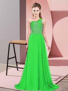 Empire Green One Shoulder Chiffon Sleeveless Floor Length Side Zipper
