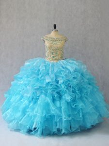 Ruffles Quince Ball Gowns Baby Blue Lace Up Sleeveless Floor Length