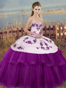 Tulle Sleeveless Floor Length Quinceanera Dresses and Embroidery and Bowknot