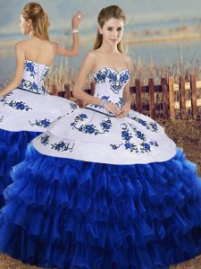 Floor Length Lace Up 15th Birthday Dress Royal Blue for Military Ball and Sweet 16 with Embroidery and Ruffled Layers