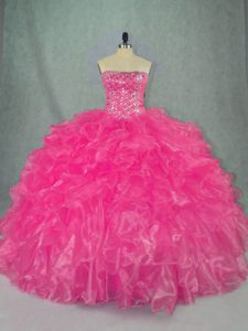 Floor Length Lace Up Sweet 16 Quinceanera Dress Hot Pink for Sweet 16 and Quinceanera with Beading and Ruffles